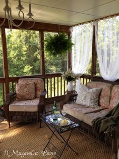 Inexpensive sheer curtains add privacy to screened porch