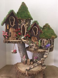 If you are looking for Diy Fairy Garden Design Ideas, You come to the right place. Here are the Diy Fairy Garden Design Ideas. This article about Diy Fai. Garden Tree House, Fairy Tree Houses, Fairy Village, Fairy Garden Houses, Gnome Garden, Garden Trees, Garden Gazebo, Diy Fairy House, Diy Fairy Garden