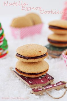 Eggnog flavored soft cookies with crisp edges sandwiched with eggnog nutella. Great for your holiday table or for cookie exchange.