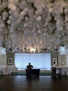 Weddbook ♥ Clever and beautiful decorating idea for a wedding or a party! A cool unique wedding decor ideas; to get balloons to hang upside down put a marble inside before blowing up. Before Wedding, Our Wedding, Dream Wedding, Wedding Pins, Wedding Table, Wedding Blog, Party Wedding, Here Comes The Bride, Pom Poms