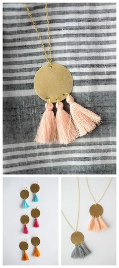 DIY Brass Tassel Necklace and Earrings Summer Craft Fair season is coming up and these tassel necklaces and earrings are so cheap and easy to make! Make these summery brass and tassel earrings with no special tools i.e no drill. You can use a hammer...