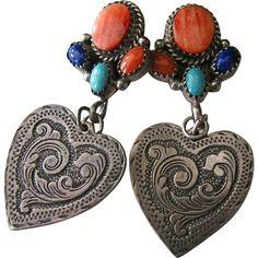 Navajo Sterling Silver & Multi-Stone Cluster Earrings, by Marie BAHE