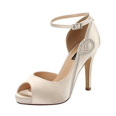 ERIJUNOR E8816 Women Peep Toe Side Open Rhinestones Comfortable Platform Satin Bridal Wedding Party Shoes Champagne Size 8 ** Read more reviews of the product by visiting the link on the image. (This is an affiliate link)
