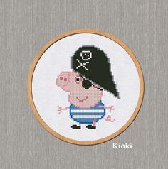 Cross Stitch Charts, Cross Stitch Patterns, Peppa Pig Family, Stitch Cartoon, Baby Mine, Pirate Birthday, Hama Beads, Kids Rugs, Embroidery