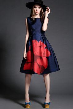 Floral Dress in Navy Blue