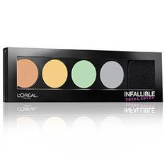 Discover a pro inspired cream palette that color corrects and neutralizes skin tone imperfections. L'Oreal's Infallible Total Cover Color Correcting Kit balances, corrects, and perfects your complexion as you wipe out skin discolorations.