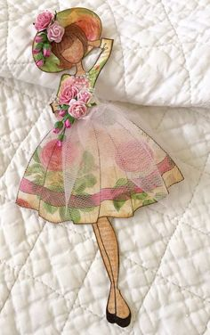 Paper doll with tulle overskirt Paper Doll Craft, Prima Paper Dolls, Prima Doll Stamps, Doll Crafts, Origami Vestidos, Dress Card, Graphic 45, Paper Cards, Scrapbook Cards