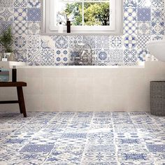 **Using same tiles on floor on walls - Calke Blue Bathroom Wall Tiles supplied by Tile Town. Discounted Moresque Effect Bathroom Wall Tiles Spanish Bathroom, Spanish Style Bathrooms, Spanish Tile, Bathroom Floor Tiles, Wall And Floor Tiles, Bathroom Shelves, Bathroom Vanities, Bathroom Tubs, Morrocan Tiles Bathroom