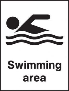 Swimming area safety sign