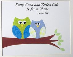 Every Good and Perfect Gift is from Above-Baptism Gift Boys Nursery Art Decor Kids Wall Art by vtdesigns, $14.00