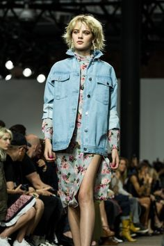 Loved the pairing of this soft, pastel floral set with an oversize denim jacket from the Topshop Unique Spring Summer 2017 collection during London Fashion Week.