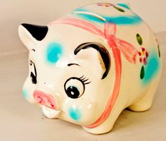 Vintage Piggy Bank Retro Pink and Blue Piggy Bank by Fleaosophy, $24.50