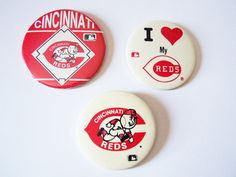 Vintage 1980's Cincinnati Reds Baseball Button by FinalHome