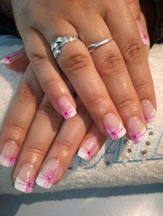 French Nails - French Nail Tip Ideas, French Nail Polish, French Tip Nail Designs French Tip Nail Designs, Pretty Nail Designs, Pretty Nail Art, Gel Nail Designs, Pink Nail Art, Toe Nail Art, Pink Nails, French Nails, Cute Nail Colors