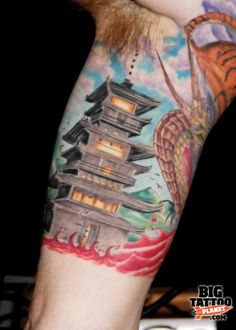 Japanese pagoda Tattoo Designs | Matt Lampi - Colour Tattoo | Big Tattoo Planet