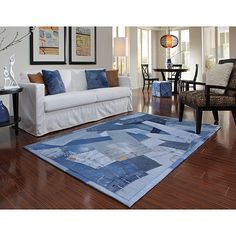 Beaufort Denim Blue Full Rug (5'0 x 7'6) | Overstock.com Shopping - The Best Deals on 5x8 - 6x9 Rugs