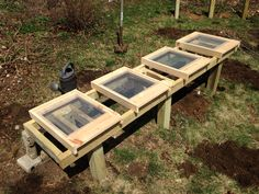 Bee hive stand with screened bottom boards shown.