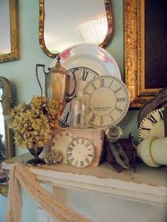 old books and clocks | Vintage silver, old books, dried hydrangeas, glass knobs, and clock ...