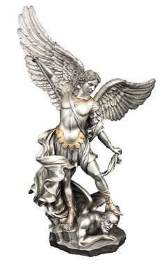 """Catholic store for St. Michael Catholic statue in a pewter style finish with golden highlights, 14.5""""."""