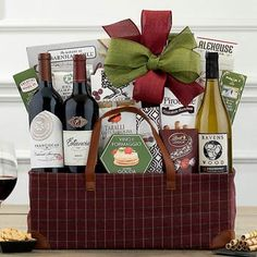 Wine Gift Baskets - Red and White Wine Trio Basket Toffee Nut, Butter Toffee, Honey Crunch, Wine Gift Baskets, Caramel Cookies, California Wine, Wine Gifts, Yummy Snacks, Truffles