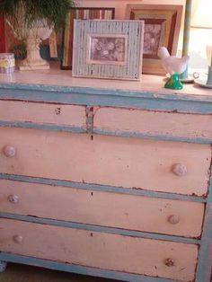 Shabby pink and blue...old knobs, too!