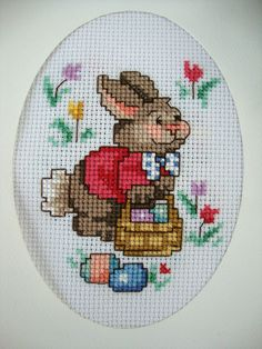 """Completed Finished Cross Stitch Card """"darling Mrs Easter Bunny In The Garden"""" FO. Cross Stitch Pillow, Cross Stitch Bird, Beaded Cross Stitch, Cross Stitch Animals, Cross Stitch Charts, Cross Stitching, Cross Stitch Embroidery, Hand Embroidery, Embroidery Patterns"""