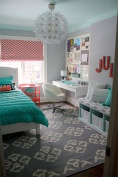 Beautiful Teenage Girls' Bedroom Designs - For Creative Juice Coral and turquoise themed bedroom design for teenage girls. Bedroom and workplace just in one room. Functional and beautiful as its own. The pandent. Love it in my room! Teenage Girl Bedroom Designs, Room Decor, Room Inspiration, Bedroom Decor, Room Makeover, Cool Rooms, Bedroom Design, Tween Girls Room, Room