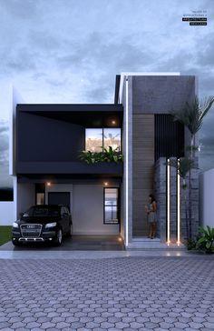 2 Storey House Design, Duplex House Design, House Front Design, Modern Small House Design, Modern Exterior House Designs, Modern House Facades, Modern Bungalow House, Villa Design, Facade Design