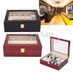 5b177ef69b99 Details about 2 5 6 10 12 Slots Watch Box Display Case Wooden Jewelry  Holder Storage Organizer. Organizador De RelojesCajas ...
