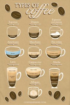 If you've ever been confused about the difference between a cappuccino and a latte, or both of these versus a macchiato, we put together this list of common types of coffee to help you differentiate the drinks. Coffee Drink Recipes, Coffee Menu, Coffee Poster, Hot Coffee, Coffee Drinks, Type Of Coffee, Coffee List, Coffee Shop, Coffee Chart
