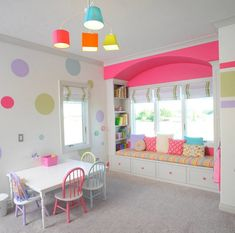 40 Kids Playroom Design Ideas That Usher In Colorful Joy! 40 Kids Playroom Design Ideas That Usher In Colorful Joy! Contact Paper Dots/Stripes in Bright Colors- easy to do and to change out. Playroom Design, Playroom Decor, Kids Decor, Home Decor, Playroom Ideas, Kid Playroom, Colorful Playroom, Decor Ideas, Playroom Colors