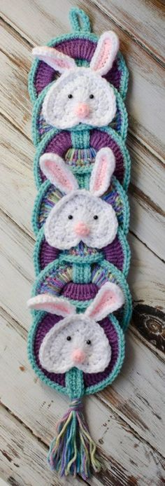Just in time for Easter.. my Easter Bunny Wall Hanging.  Super, super fast, so you can make it in an evening and still have plenty of time to get it done before the big day!  This is another of my paid patterns which you can find in my Etsy or Ravelry shop.  I like to share the behind the scenes story of my designs in a series called back stage.  You can find other back stage stories here. If youve been following me for awhile, you know that I have a whole series of crochet wallhangings that f