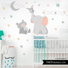 ¿Tocamos la luna? Luna Gris - Vinilos infantiles bebé Baby Bedroom, Kids Bedroom, Baby Wall Decor, Baby Girl Elephant, Baby Crafts, Girl Nursery, Kids And Parenting, Baby Love, Playroom