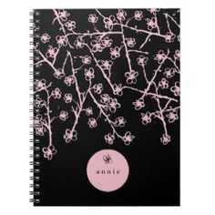 Delicate Pink Hand-Drawn Cherry Blossoms Notebook