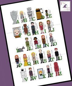 Today's featured #crossstitch pattern: Learn the alphabet with Doctor Who! This cross stitch pattern features a selection of my favourite characters from BBC's Doctor Who A is for the Weeping Angels B is for ... #cyberman #dalek #cybermen #bbc #silence #brigadier #unit