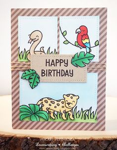 "Lawnscaping Challenge #104: Jungle Birthday Card by Handmade by Yuki | ""Critters in the Jungle"" by Lawn Fawn"