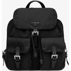 PRADA Backpack featuring polyvore fashion bags backpacks accessories black clothing handbags women harness backpack flap bag flap backpack logo bags prada backpack