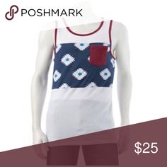 Printed panel top tee Product Details This men's Tony Hawk tank top, with its printed panel design, goes where your tank tops have never gone before.  PRODUCT FEATURES Tag-free Crewneck 1 pocket Sleeveless FABRIC & CARE Machine wash 4.4 Shirts