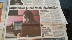 Impulsieve pupber vaak slachtoffer. Onderzoek cybersafety. Metro 17 februari 2014