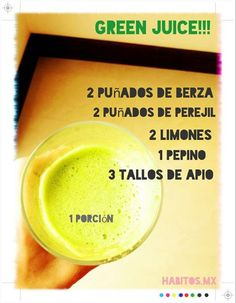 Jugo verde: berza, perejil, limones, pepino y apio