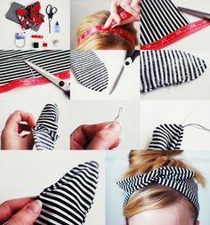 Something Monumental: Diy Rockabilly Headband - Diy Crafts - hadido Wire Headband, Turban Headbands, Twisted Headband, Turban Headband Tutorial, Fabric Headbands, Fabric Crafts, Sewing Crafts, Sewing Projects, Diy Projects