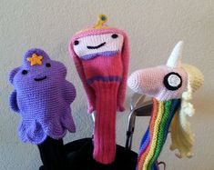 This is a hand-knitted Jake Adventure Time Golf Club Cover made for drivers.  Fairway wood and hybrid versions are also available! Fairway wood versions can be found here: https://www.etsy.com/listing/279216556/jake-adventure-time-fairway-wood-golf?ref=shop_home_active_10  Hybrid versions can be found here: https://www.etsy.com/listing/244755789/jake-adventure-time-hybrid-golf-club?ref=shop_home_active_10  Message me if you would like a fairway wood version of this cover and I will create a…