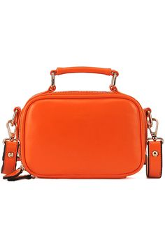 Orange Zippered Faux Leather Bag. Description Bag, featuring square shaped design, zip top closure with dual zip heads for locking, a patent main with front brand logo, a short grab handle and a long adjustable shoulder strap, spacious and contrasting fabric lining, and inner zippered pocket and small pockets. Fabric Vinyl and Cotton. Washing Specialist Dry Clean. #Romwe
