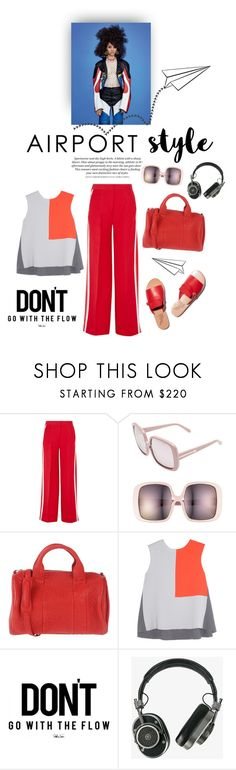 """Fly away"" by iriadna ❤ liked on Polyvore featuring Fendi, Karen Walker, Alexander Wang, Roksanda Ilincic, Master & Dynamic, red, CasualChic and airportstyle"