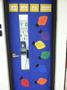 Light (insert school name) with kindness---holiday character education bulletin board-- the lights have little acts of kindness listed.