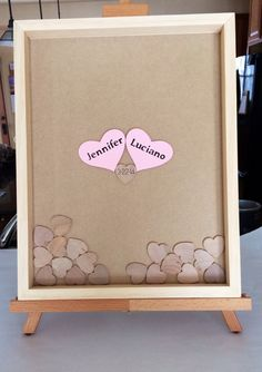 Wedding guest book and unique Heart Guest Book (Drop Top Guestbook) - Any Color - 18x24 - Including Shadow Box