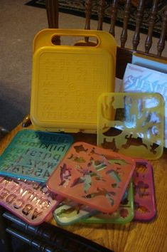 Vintage Tupperware Toy Stencil Art Set with Case.  Aaaw remember the hundreds of hours we spent playing with these together