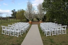 Ceremony space - Blue Wren Winery A stunning ceremony space using our white gladiator chairs