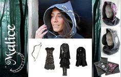 Scalda collo con cappuccio, modello elfico, di tessuto pesante di lana cucito a mano e decorato con ricamo di lana eseguito a mano, e cloth bubbles (elementi decorativi realizzati con ritagli di stoffa e bottoni).  -------------> Seguimi sul web: https://malicecraft.wordpress.com/  -------------> e su fb: https://www.facebook.com/MaliceCrafts