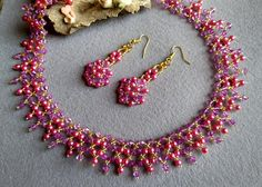 ❤️ Add a pop of colour to your collection with this hot pink beaded necklace. It fits snugly along the collar bone and will look perfect with a scoop neckline or a strapless dress. The combination of dark pink and gold will go perfectly with a matching pink dress or any neutral colors like shimmery black, a gray dress or golden dress.  ❤️ Ive made it with great care and attention to detail. I have made it using high quality czech seed beads, round glass beads, light pink acrylic beads and…